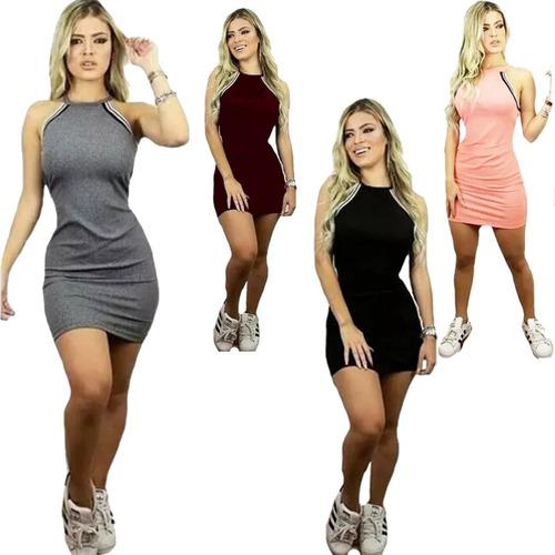 vestido curto feminino rodada 3d decote com listras oferta