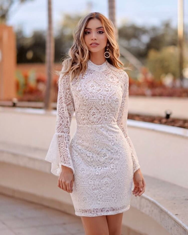 5259a10e5c vestido curto festa noiva branco off renda manga longa flare. Carregando  zoom.