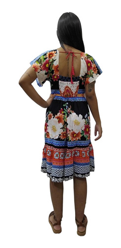 vestido curto manga curta indiano estampado bolso cód. 330b