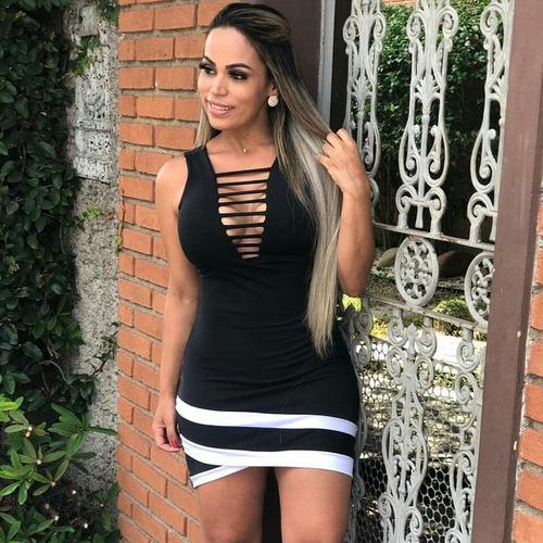 vestido curto moda blogueira balada decote longo grade