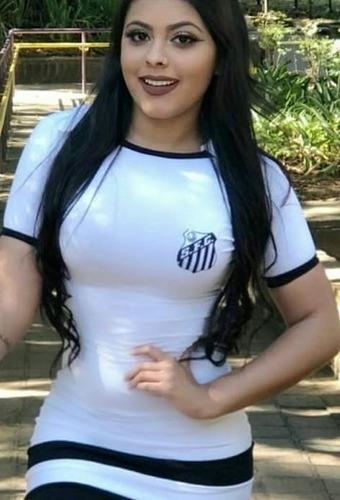 vestido curto moda casual feminina time santos futebol clube