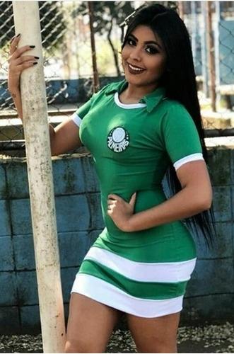 vestido curto moda casual feminino adulta time palmeiras top
