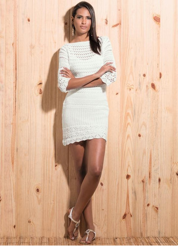 vestido curto para festa branco de tricô blogueira justo