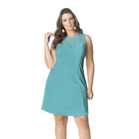 0abdc67c0a Vestido Curto Plus Size Crepe Sem Mangas Renda Verde