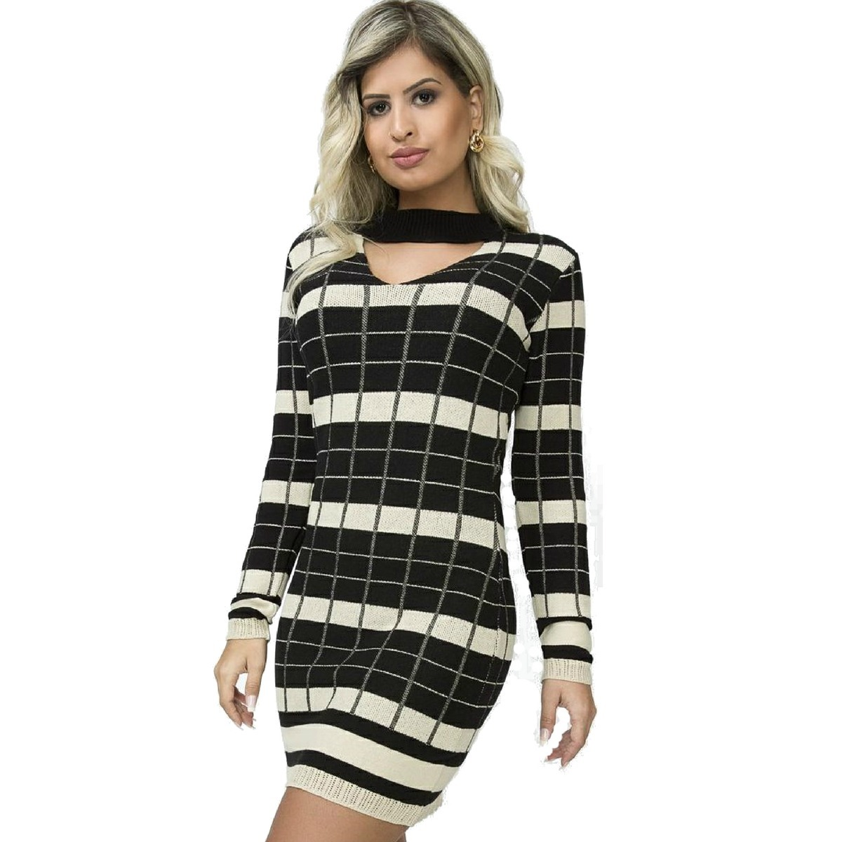 dcc9b8f02 vestido curto preto e branco trico manga longa inverno 2018. Carregando zoom .