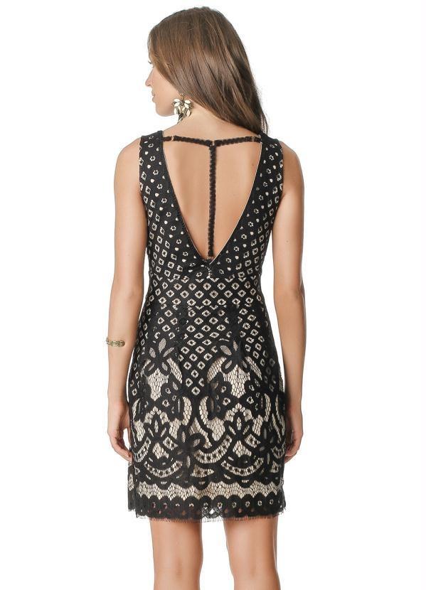 75e92acadf vestido curto renda sem mangas decotado preto-p. Carregando zoom.