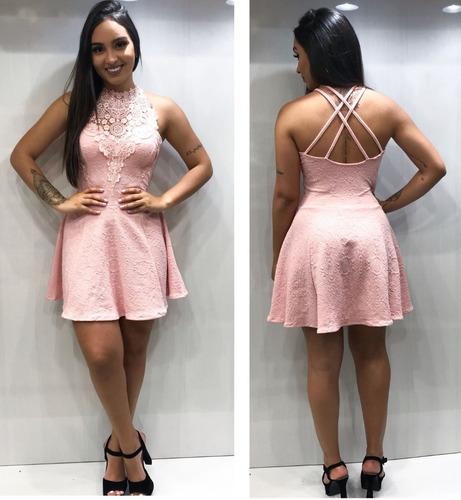 vestido curto  rodadinho  decote renda c bojos e alcinhas