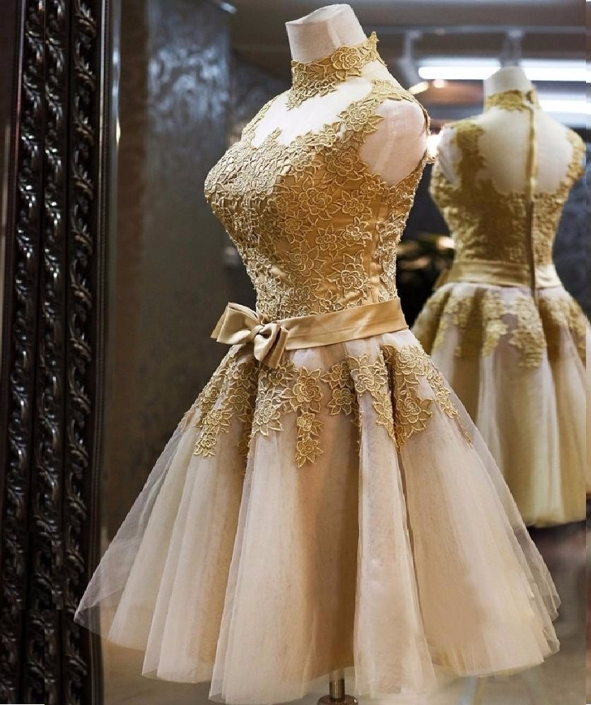34d57e5eee vestido curto rodado renda casamento festa madrinha dourado. Carregando  zoom.