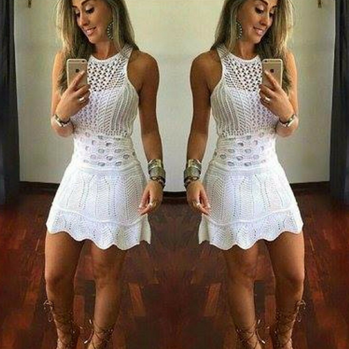 8f83bd5f9c Vestido Branco Curto Da Moda Tricot Trico Roupas Femininas - R  59 ...