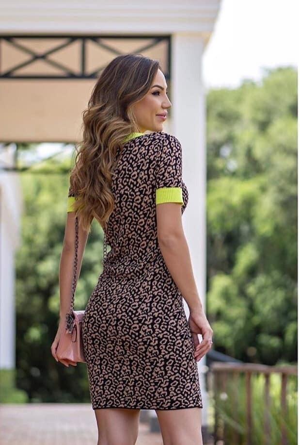 73c61f3cd Vestido Curto Tricot Onça Estampa Animal Lançamento Blogueir - R$ 79 ...