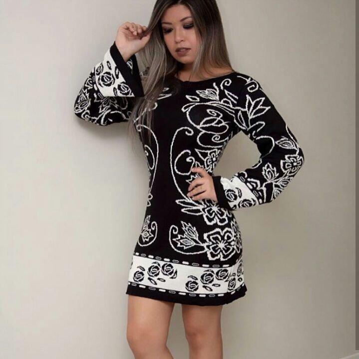 67575455d Vestido Curto Tricot Tricô Estampa Floral Manga Longa Flare - R  79 ...