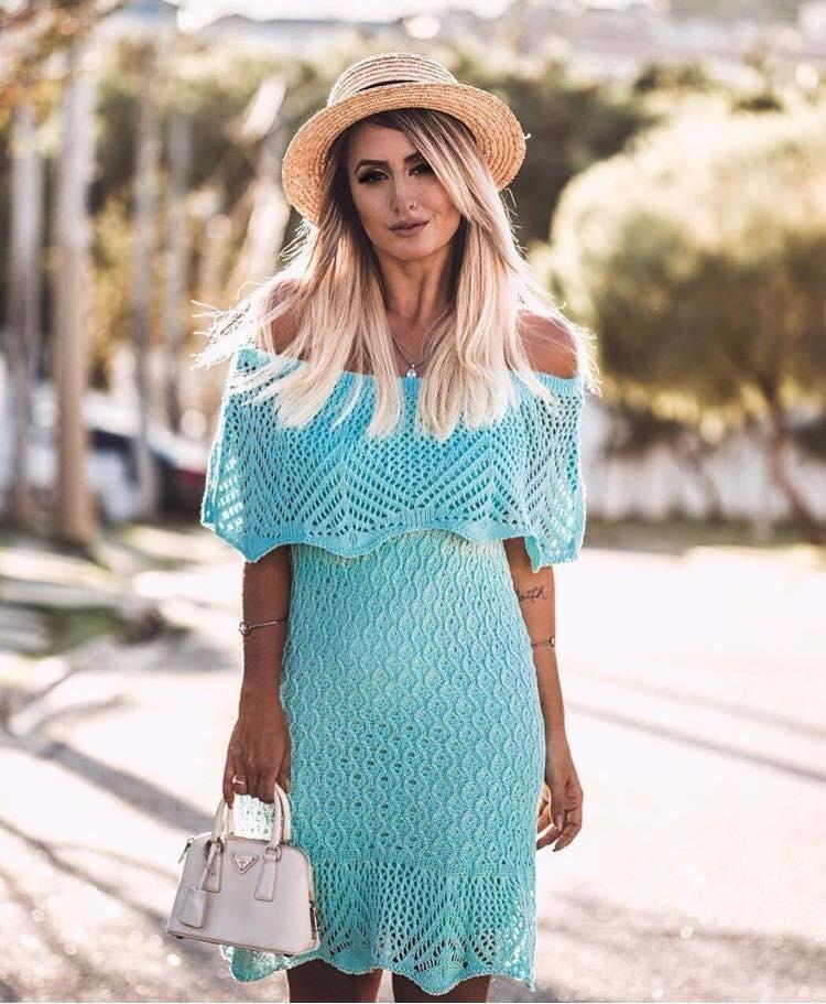 Vestido de tricot verde agua