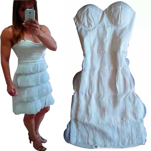 vestido curto tubinho tomara que caia branco com franjas