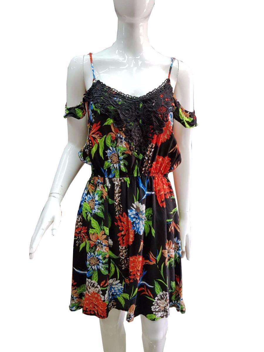 640cf0e6c vestido curto viscose renda alcinha estampada floral 240. Carregando zoom.