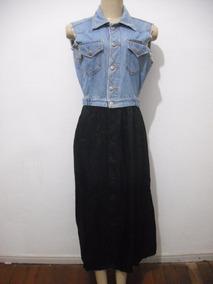 cf0f20d60d Vestido Customizado Colete Jeans Forum Com Saia Tam M