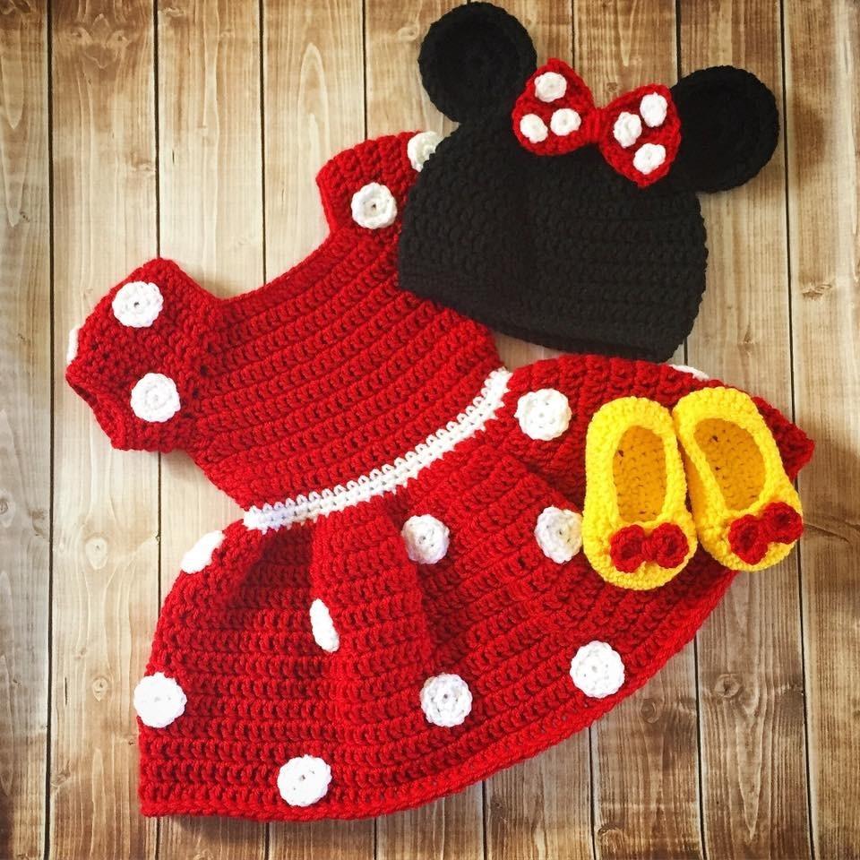 0243c3e33 Vestido Da Minnie De Crochê Para Bebê Frete Grátis - R$ 203,90 em Mercado  Livre