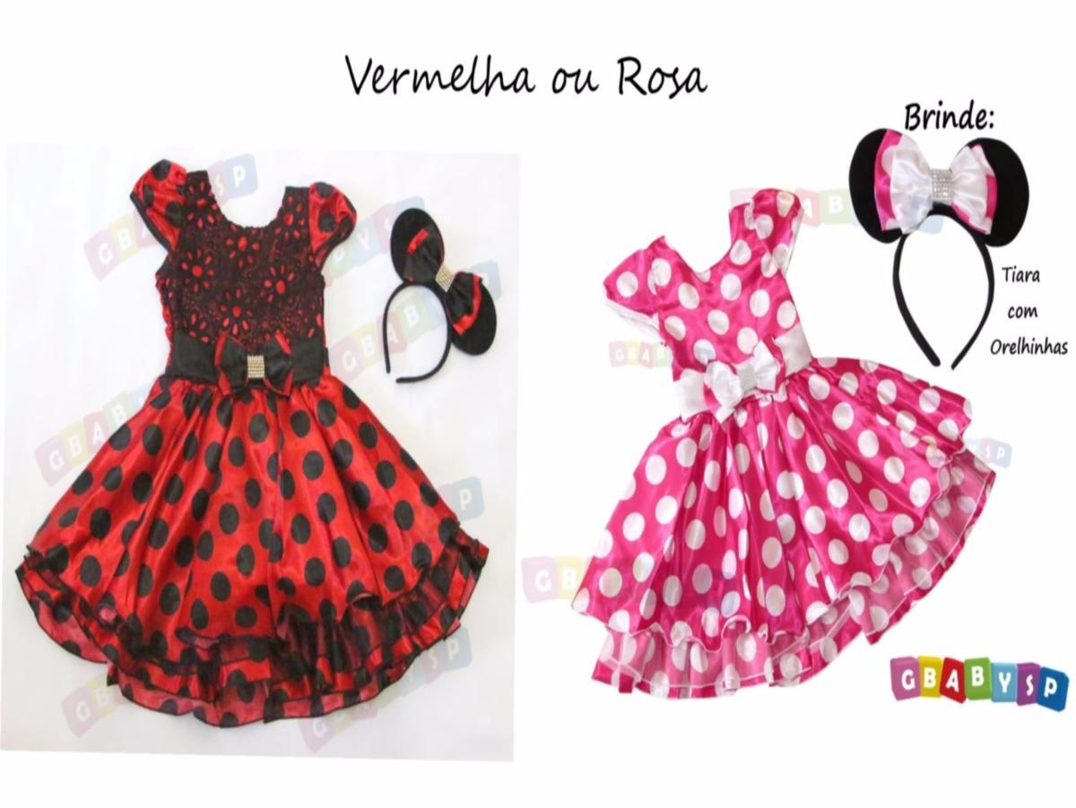 9cfcb5b7f65 Vestido Da Minnie Fantasia Festa Minie Vermelha Ou Rosa Inf - R  135 ...