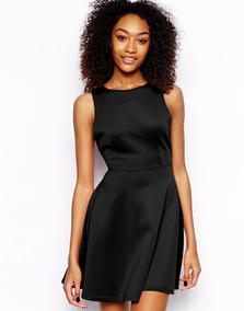 763e95cdc232 Vestido Daisy Tela Scuba Negro T Xl (44) Escote Espalda V