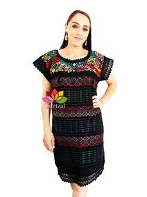 877e0b0dc6 Vestido Dama Artesanal Bordado A Mano Hilo Seda Mexicano