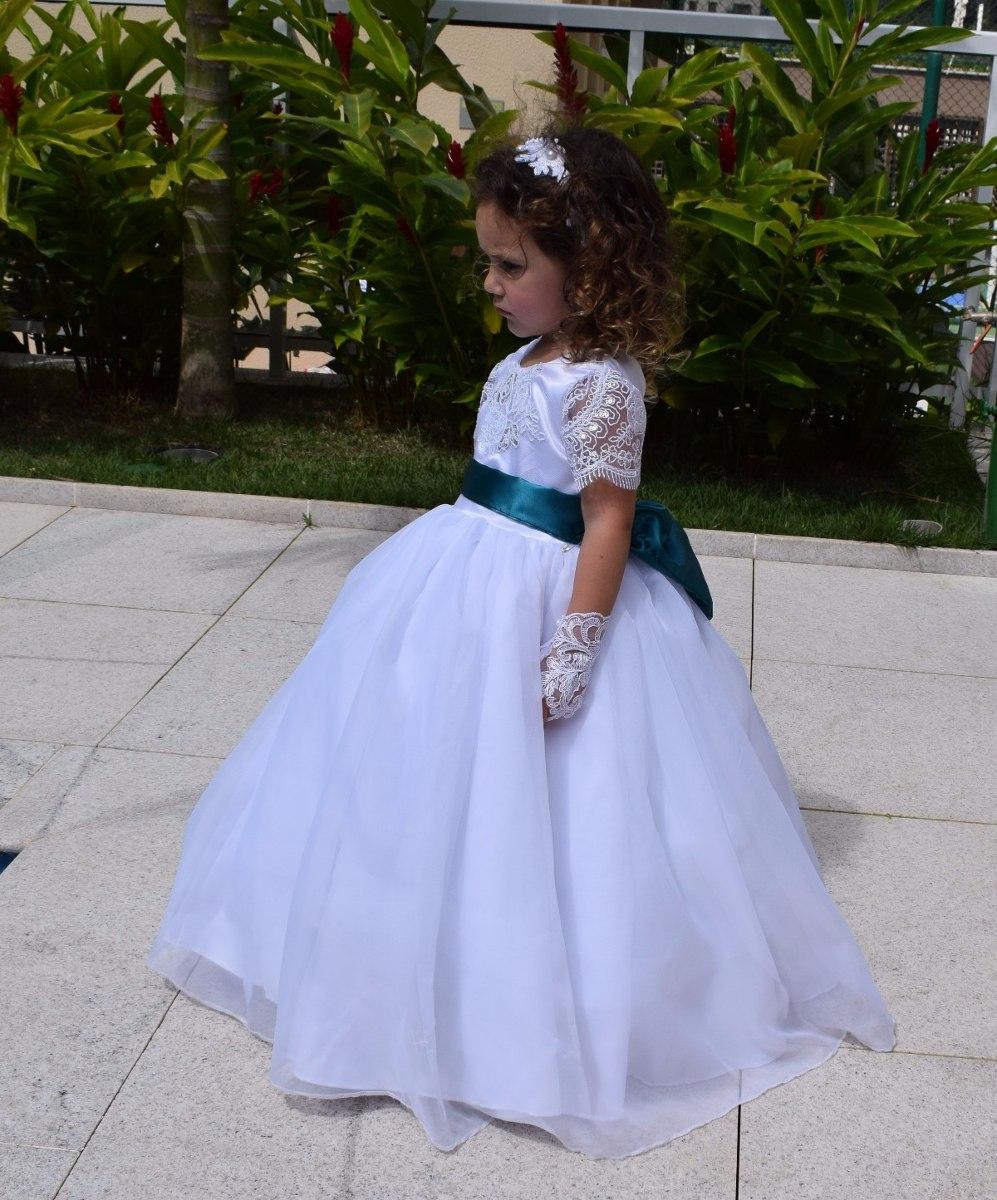2c19b3609 Vestido Dama Casamento Formatura Manga Renda +faixa + Luva - R$ 149 ...