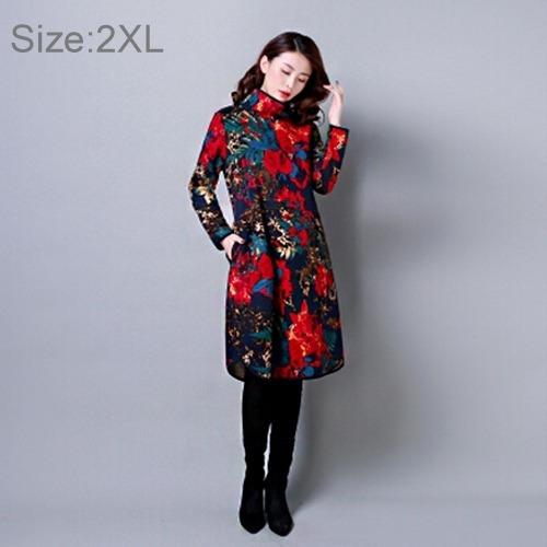 vestido dama cosecha flor impresion manga larga sueter fv0j