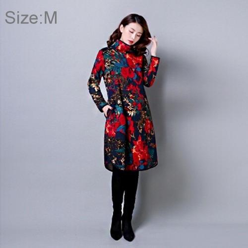 vestido dama cosecha flor impresion manga larga sueter fv0k