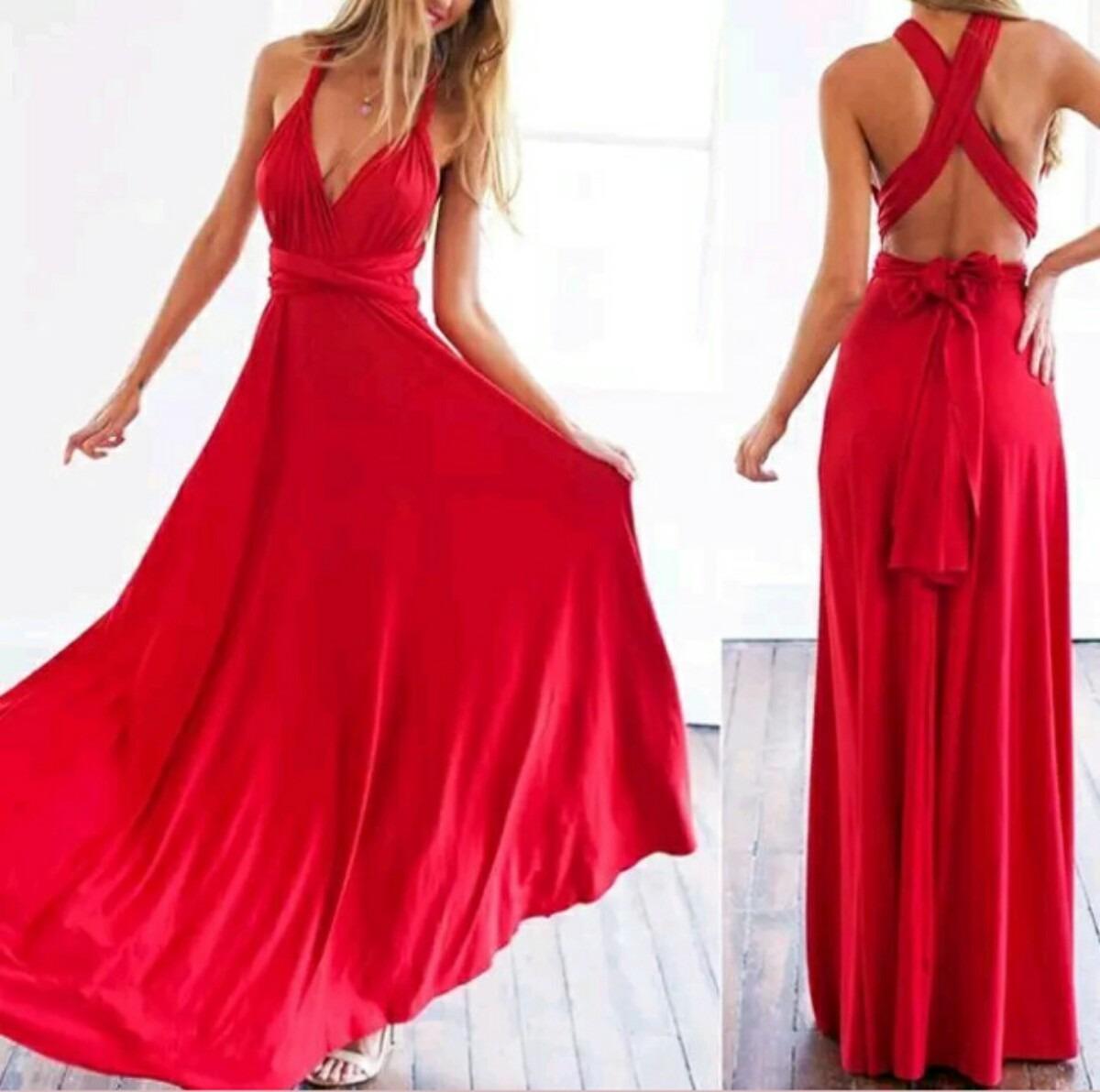 Vestido Dama Largo Graduación Dama Honor Fiesta Baile Rojo