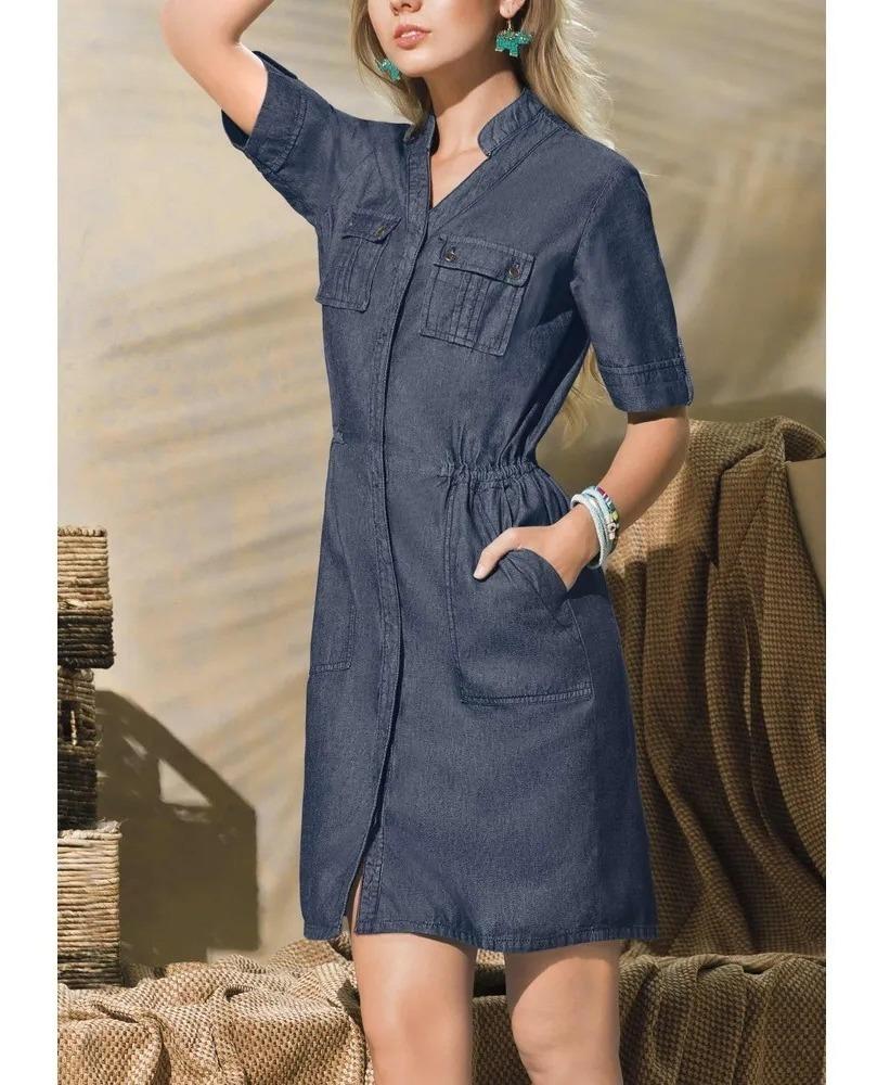 Vestido Dama Mezclilla Escote V Look Retro Vintage 1352252