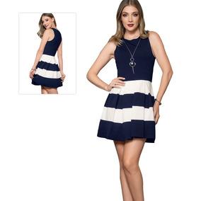 e00860734 Vestido Dama Mujer Moda Formal Jaquard Marino Verano Comodo