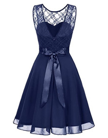 Vestido Damas Honor Boda Xv Encaje Floral Azul Marino L