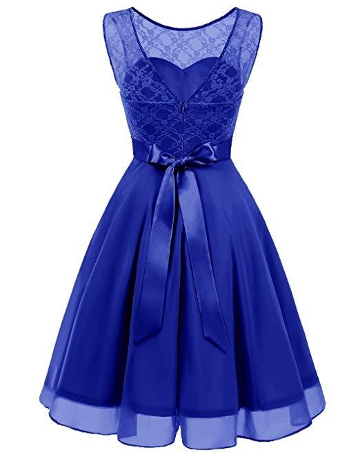 751effc17 Vestido Damas Honor Boda Xv Encaje Floral Azul Rey 2xl -   1