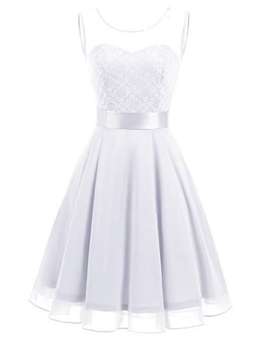 2e8960426 Vestido Damas Honor Boda Xv Encaje Floral Blanco L -   1