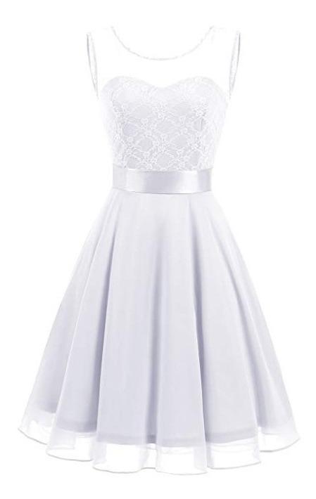 Vestido Damas Honor Boda Xv Encaje Floral Blanco L