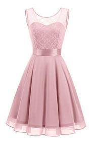 Vestido Damas Honor Boda Xv Encaje Floral Rosado 2xl