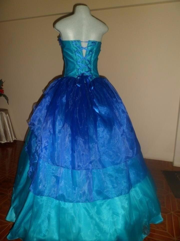 Vestido de 15 a os azul rey y turquesa con piedreria bs - Como hacer color turquesa ...