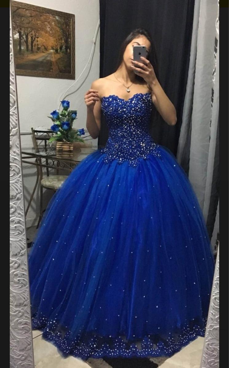 43796cfd19 Vestido De 15 Anos Azul Royal Princesa Com Um Lindo Barrado - R ...