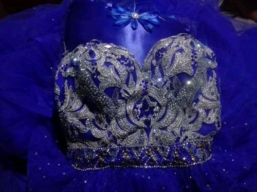vestido dé 15 años color azul