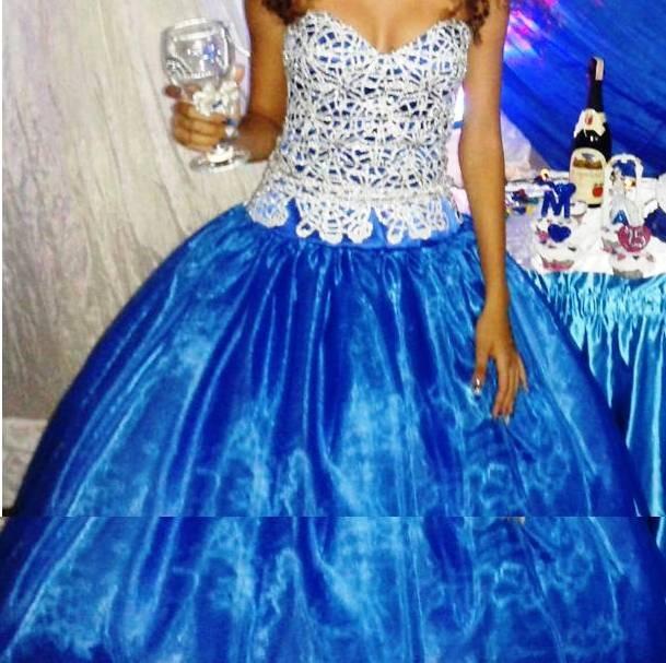 Vestidos azul rey dos piezas