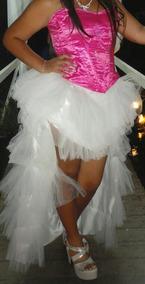 Vestido de 15 color fucsia con blanco