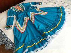 Vestido De Adelita Tipico Mexicano Talla 8 Color Azul