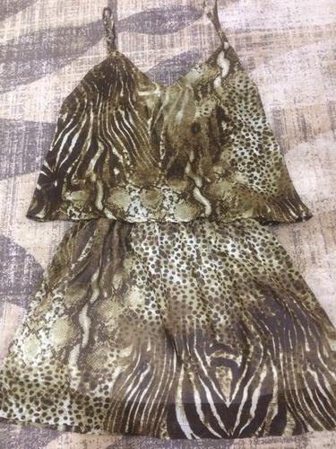 vestido de alças verão estampa animal print lindo