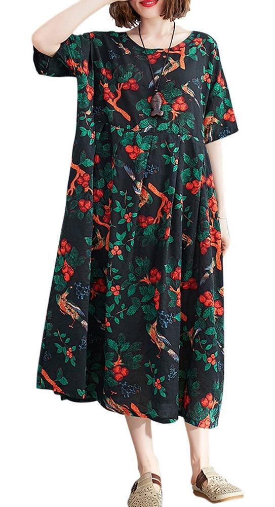Vestido De Algodon De Lino Para Mujer Tallas Grandes Esta 8 712 En Mercado Libre