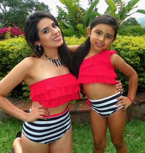 vestido de baño  combo mama playa  piscina bikini 2 piezas