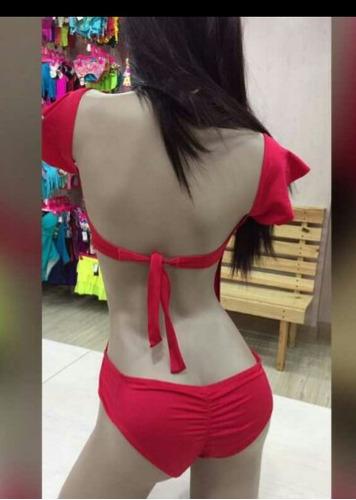 vestido de baño trikini... hermosos colores levantacola