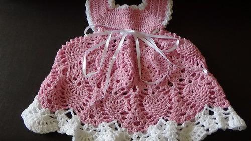 vestido de bebé tejidos a crochet talla 6 meses