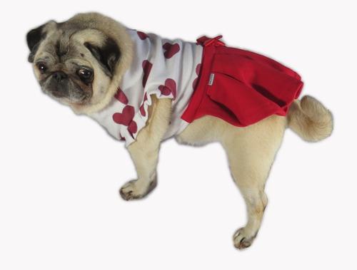 vestido de cachorro/ gato inverno frio coração vermelho