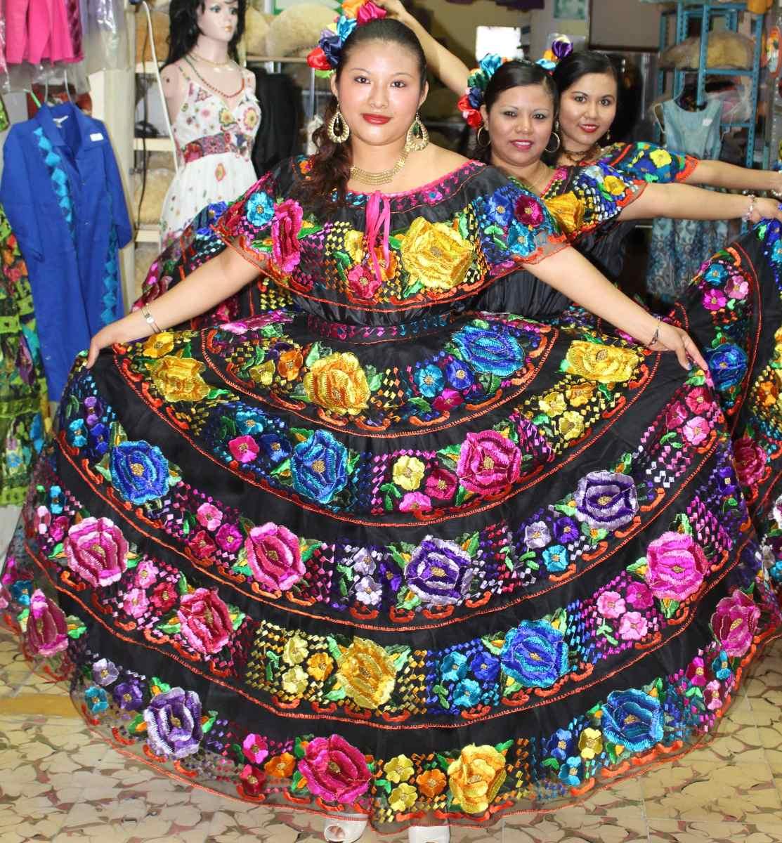 Vestido De Chiapas Ruedo Normal Para Dama