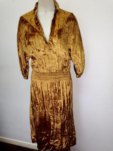vestido de chiffon dorado, medium, impecable!!