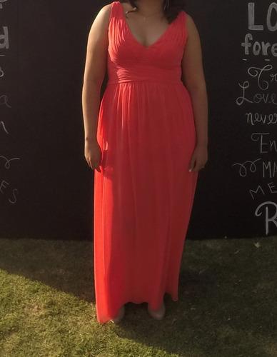 vestido de coctel color coral. solo se uso una vez!