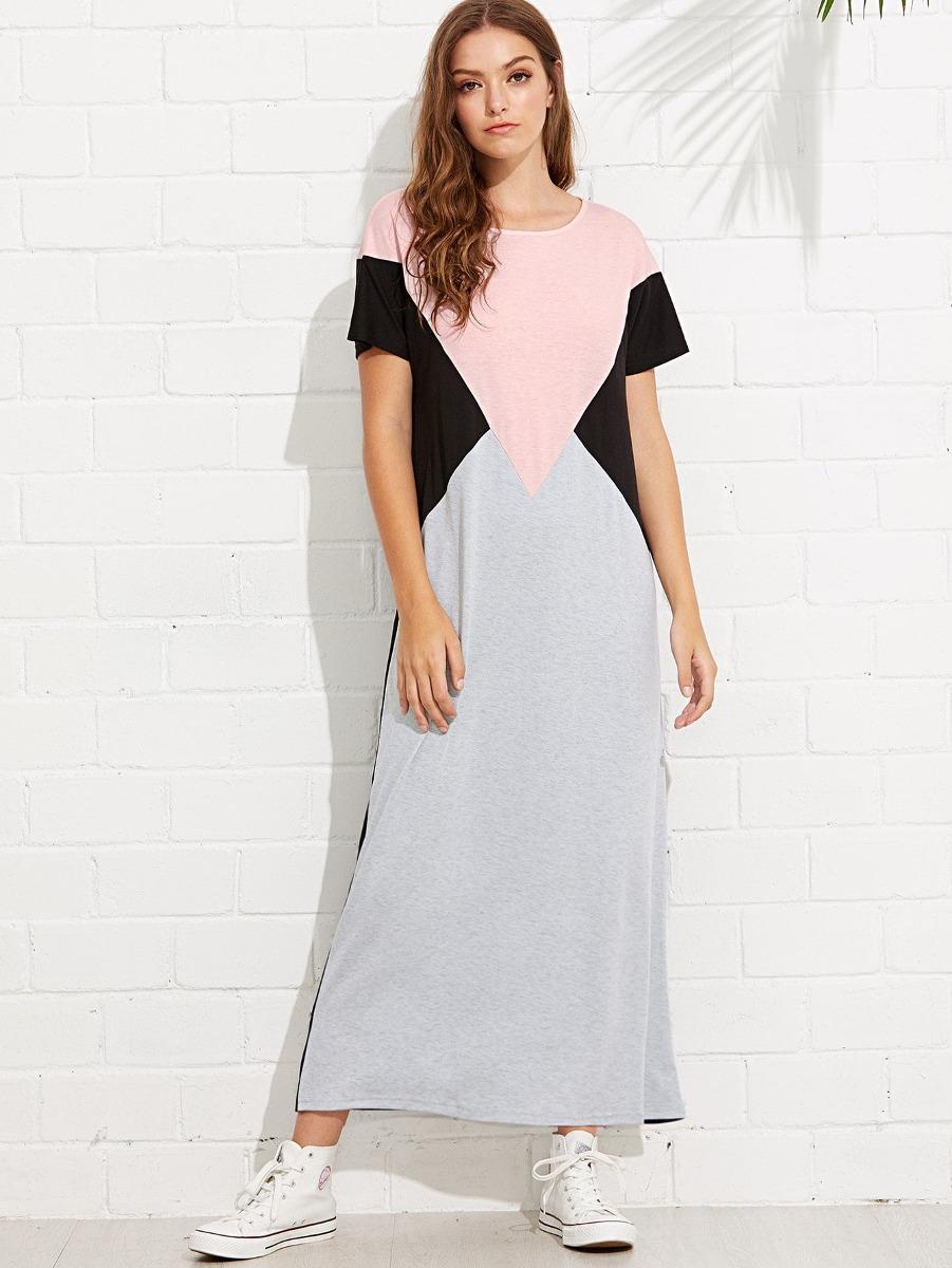 Vestido De Color Block Con Costuras - $ 682.55 en Mercado Libre